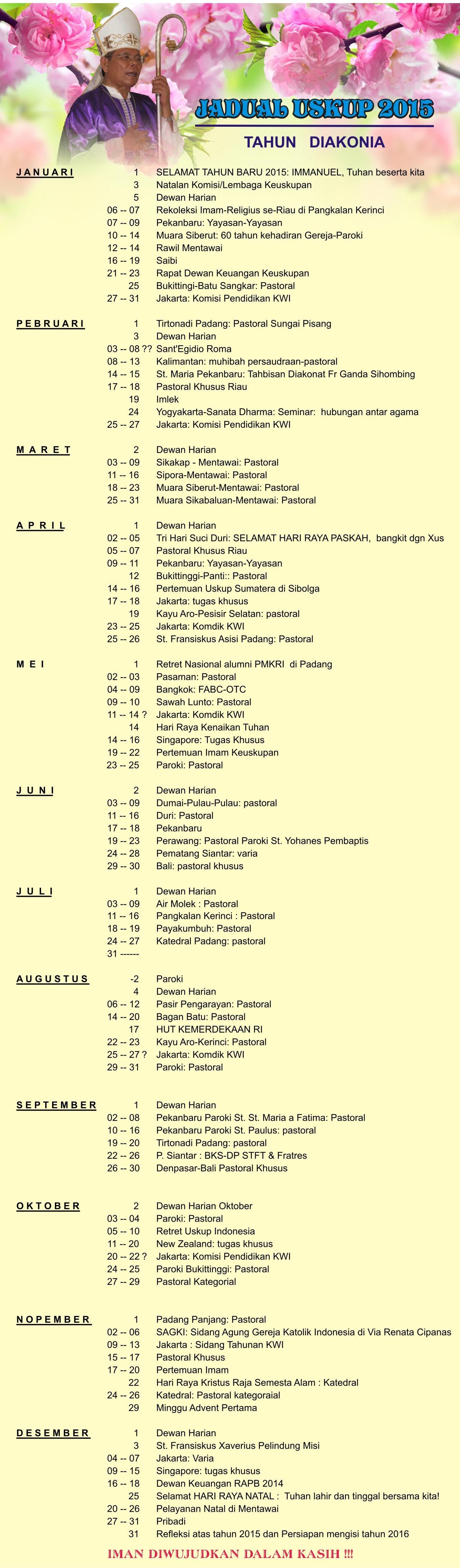 jadual uskup 2015